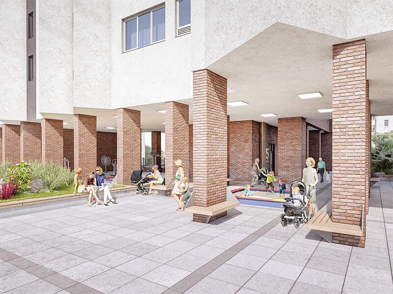 Большой двор жилого квартала Мельница без машин