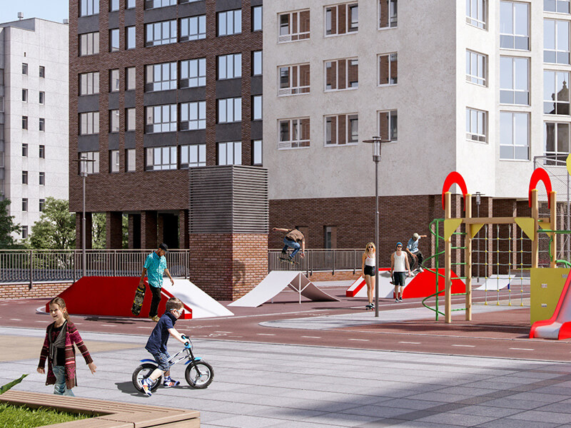 Скейт-парк в жилом квартале Мельница