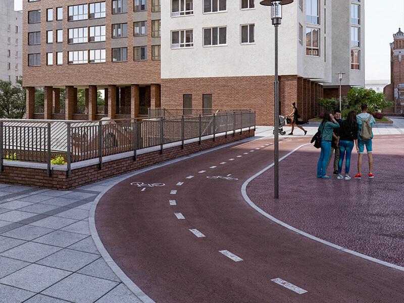 Велодорожка в жилом квартале Мельница