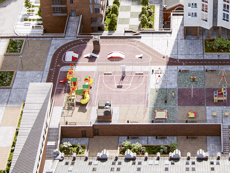 Стритбольная баскетбольная площадка в жилом квартале Мельница