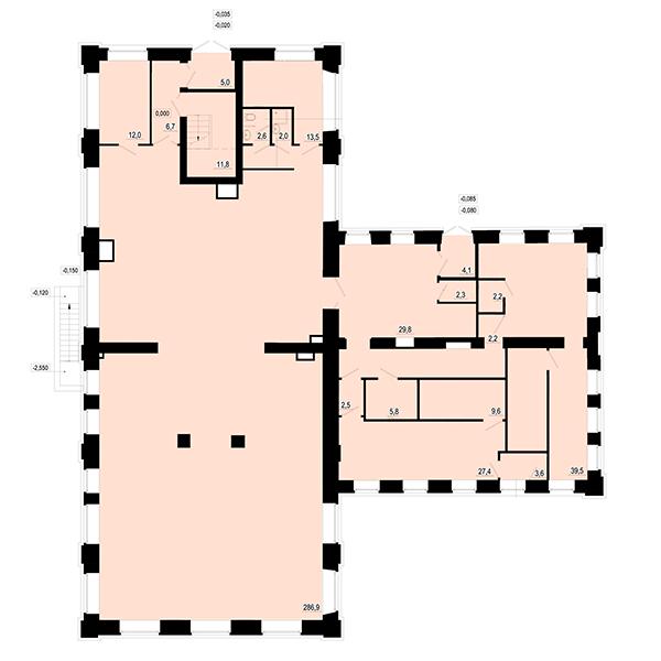 План 1 этажа помещения под финтес-центр в жилом квартале Мельница