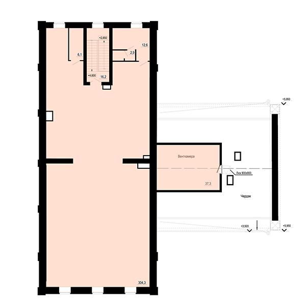 План 2 этажа помещения под финтес-центр в жилом квартале Мельница