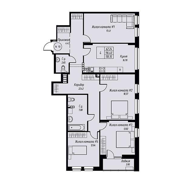Четырехкомнатная квартира в жилом квартале Мельница
