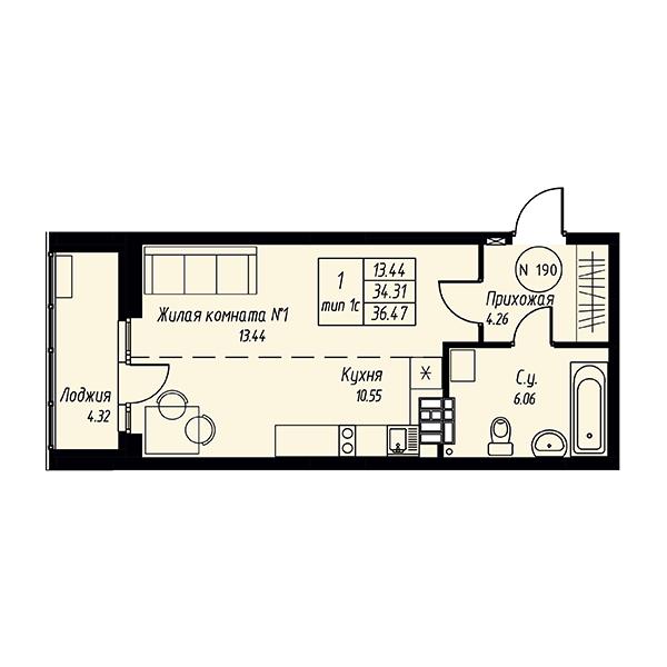 Квартира-студия в жилом квартале Мельница