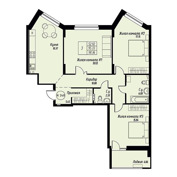 Трехкомнатная квартира в жилом квартале Мельница