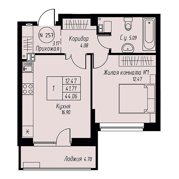 Однокомнатная квартира в жилом квартале Мельница