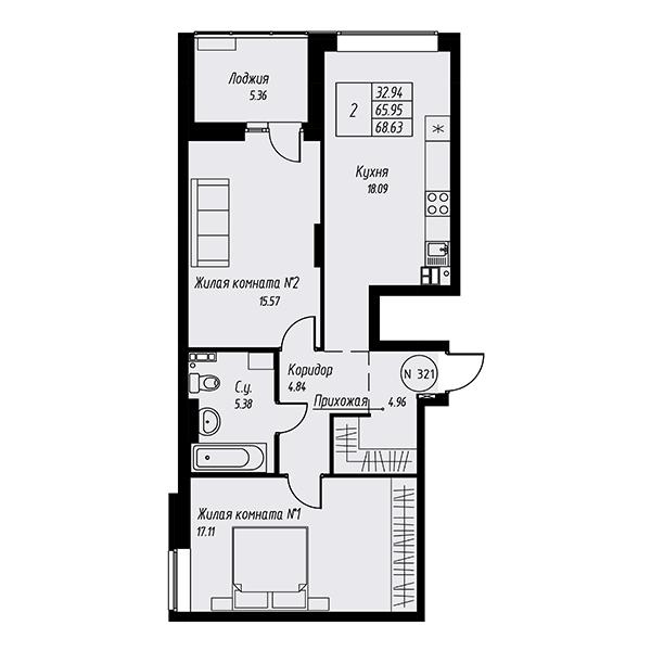 Двухкомнатная квартира в жилом квартале Мельница